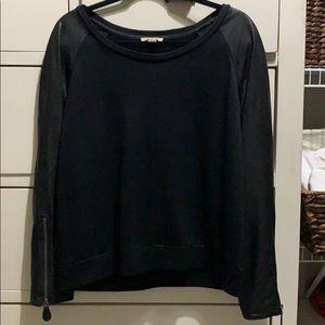 Burberry Brit Sweatshirt leather sleeves size XL